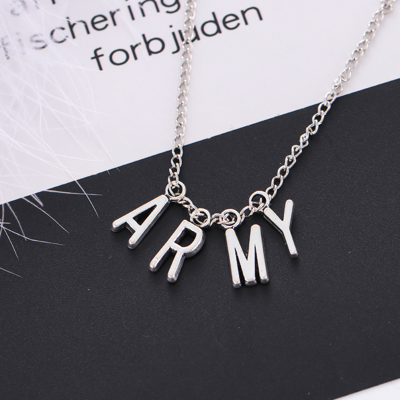 Kpop Jewelry ARMY Letter Necklace for Woman 2021 Alloy Letter Bangtan Boys Fan Necklace Fashion Party Accessories Girl BTS-114