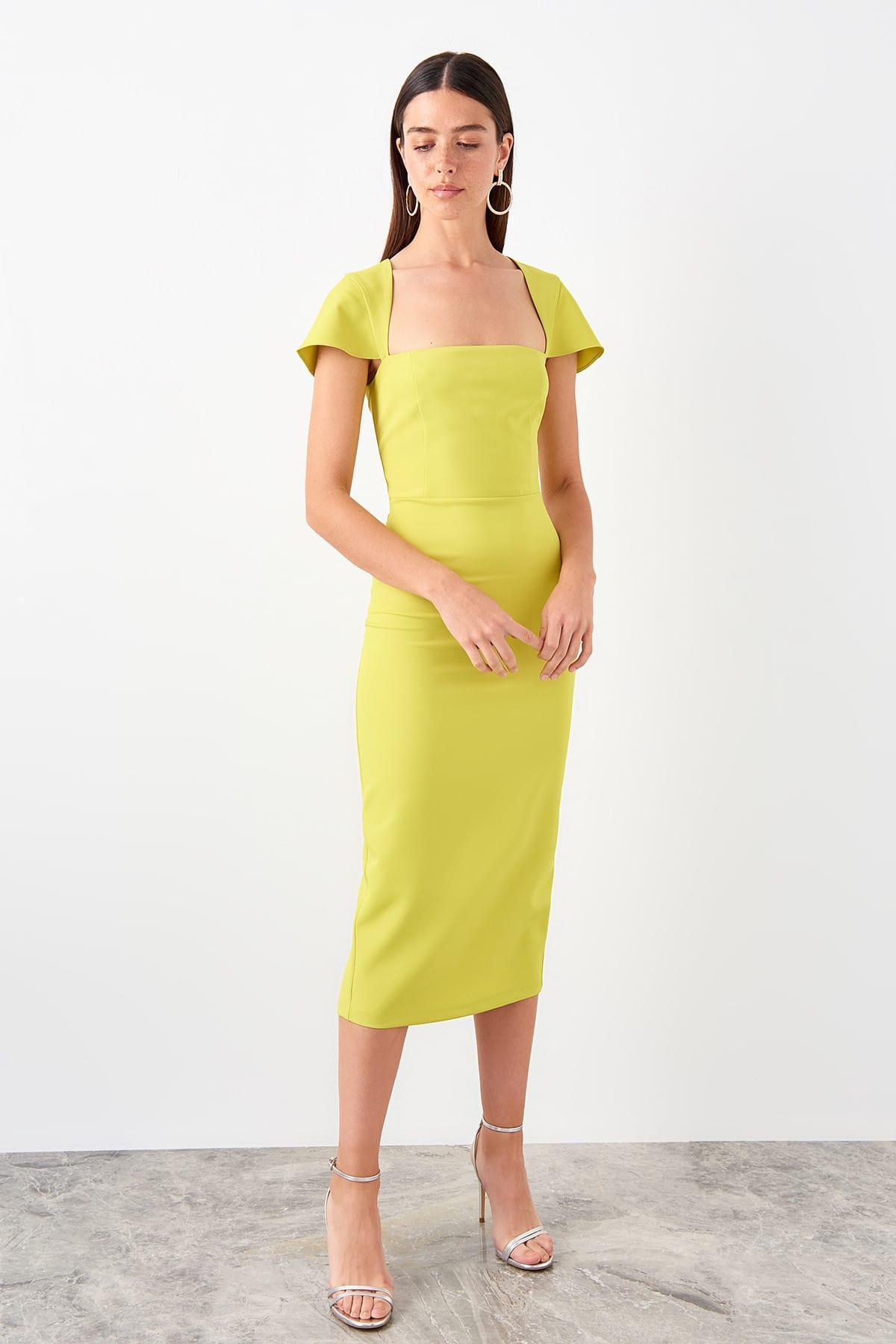 Trendyol Yellow Sleeve Detail Dress TPRSS19FZ0570()