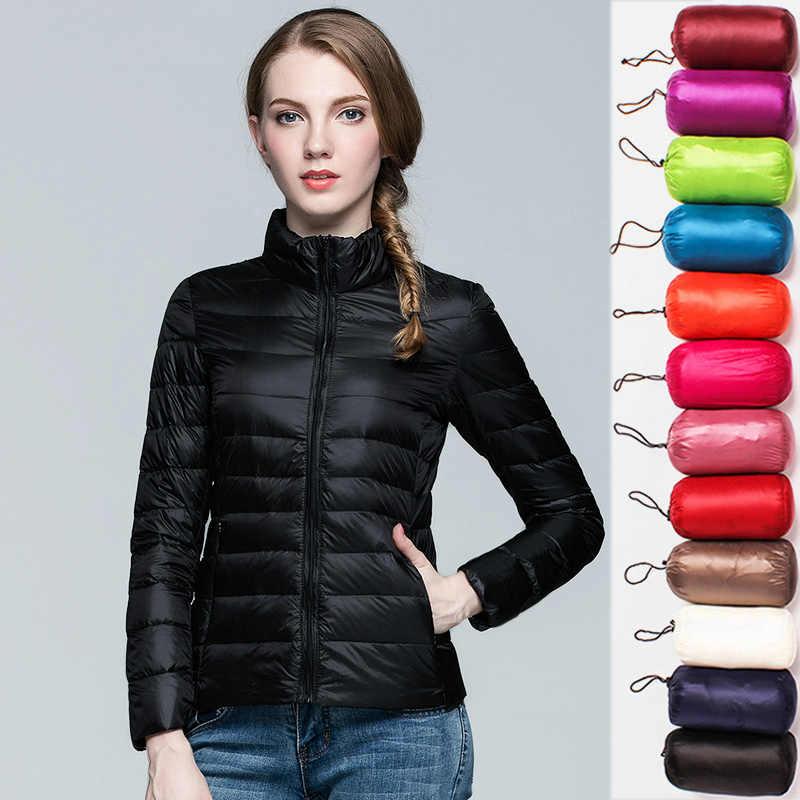 ダウンパーカー女性超薄型軽量ダウンジャケット 2019 秋冬スリムショートフード付きウォームホワイトダックダウンコート女性の上着