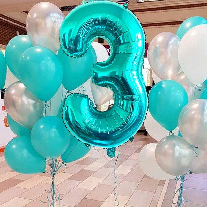32 дюйма Тиффани синие воздушные шары из фольги в виде цифр С Днем Рождения Декор для вечеринки свадьбы День Святого Валентина украшения для ...
