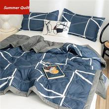 Новое одеяло из потертого хлопка 1 шт мягкое в тонкую полоску