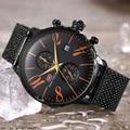 MINI reloj de negocios de foco para hombres, relojes de acero inoxidable negro impermeables para hombres, reloj de pulsera de cuarzo de moda, reloj Masculino 2020 nuevo