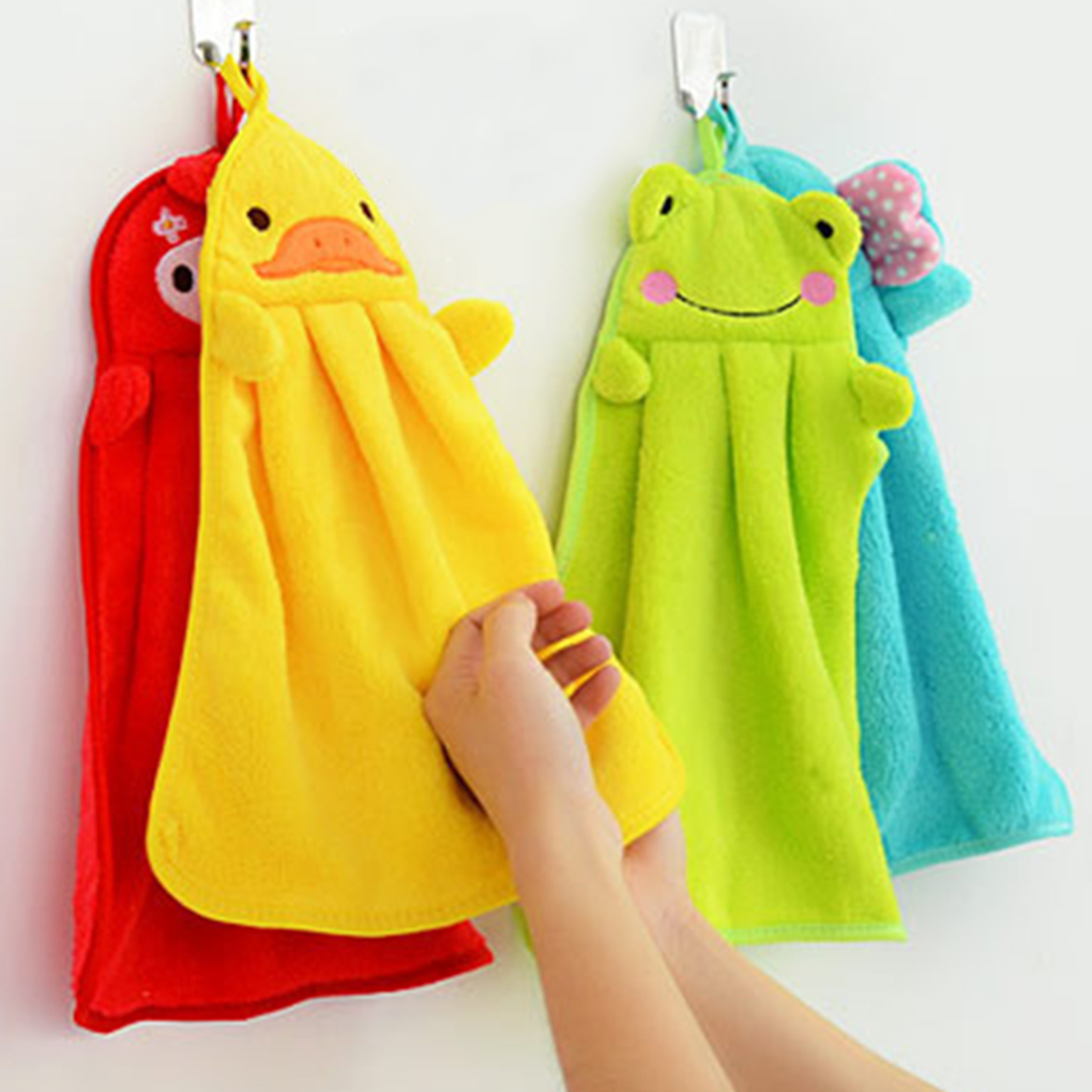 Hand Towel Candy Colors Soft Coral Velvet Cartoon Animal Towel Can Be Hung Kitchen Used