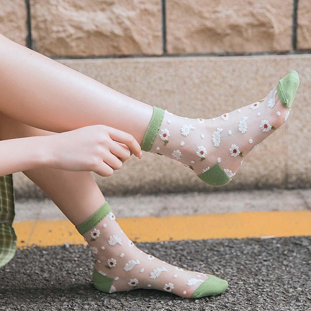 Summer Ultrathin Breathable Transparent Socks Daisy Flower Women Sock Fashion Short Socks Lace Ruffle Cozy Mesh Ankle Socks