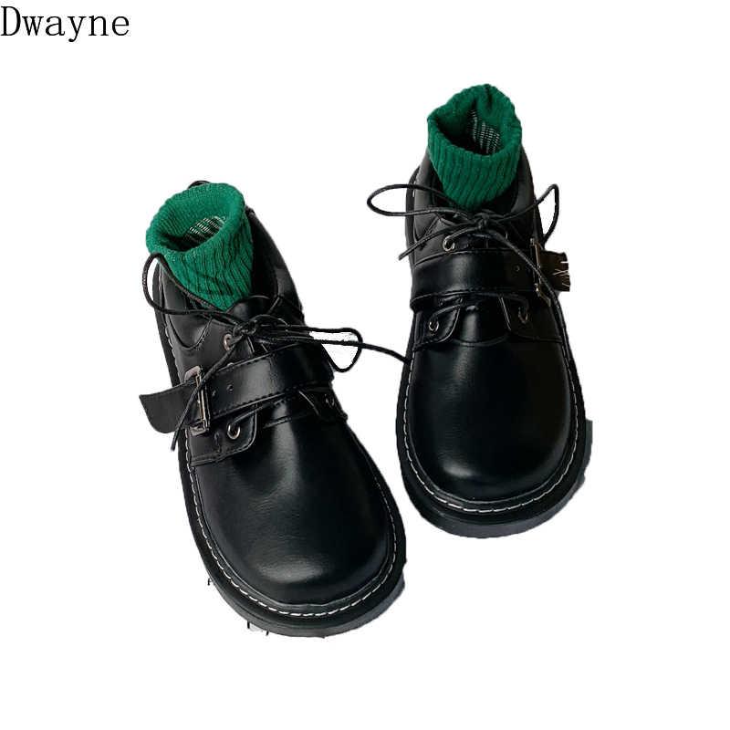 2019 yeni retro Harajuku tarzı küçük deri ayakkabı kadın öğrenciler vahşi ulzzang büyük ayakkabı düz yumuşak kardeş tek ayakkabı gelgit