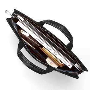 Мужская сумка из натуральной кожи, портфель для ноутбука s, тонкая сумка для компьютера на молнии, деловые сумки, сумка для планшета, портфел...