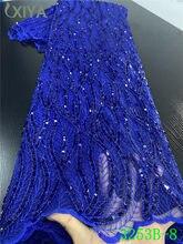 Azul tul nigeriano de malla de tela de encaje más vendidos lentejuelas telas de encaje de alta calidad Africana tul francés tela de encaje APW3253B
