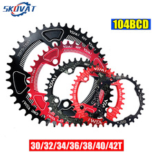 SKOVAT 104BCD Mountain Bike Bicycle Chainwheel 30T 32T 34T 36T 38T 40T 42T Narrow Wide Chain Wheel MTB Chaining  Round Oval 1pcs black fouriers bicycle single chain ring p c d 104mm 30t 40t 4mm bike chainrings narrow wide teeth