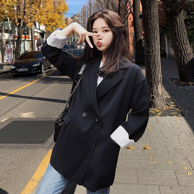 Vintage Korean Ladies Blazer Solid Black Casual Loose Suit Jacket Stylish Giubbotto Donna Simple Office Women Blazer New MM60NXZ
