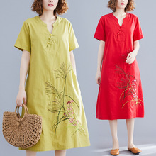 Linen Long Dress 2019 Summer New Ethnic Cotton and Hemp MAXI Female Literary V Collar Embroidered Casual Vestidos