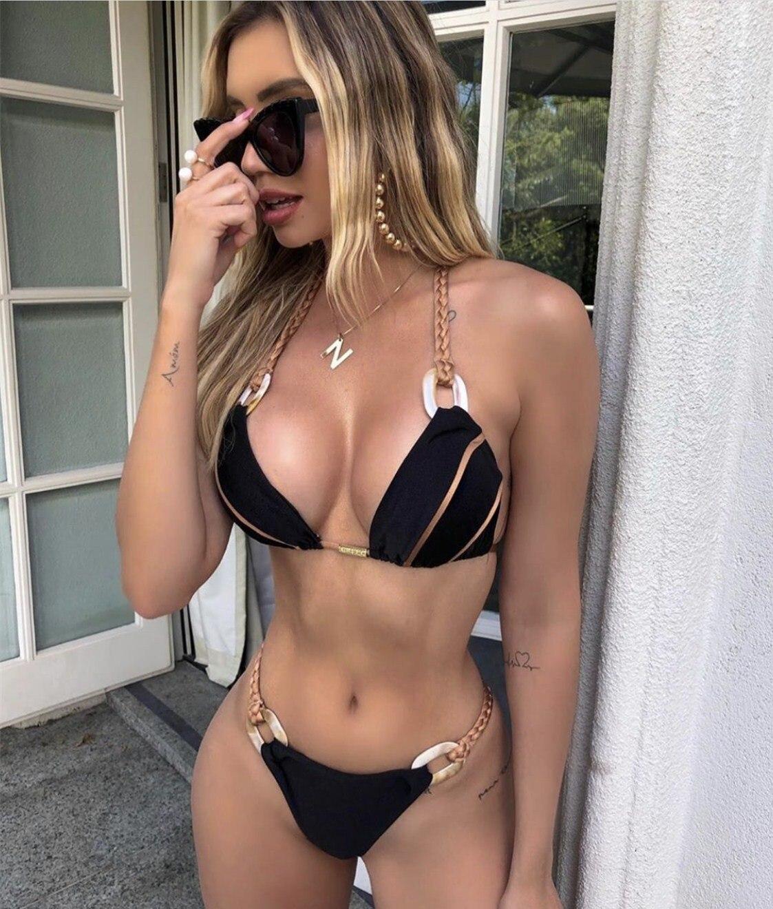 Black Bandeau Bikini Set Strapless Swimwear Women Push Up Biquini Sexy Thong Bikini 2019 Patchwork Swimsuit Backless Bathingsuit