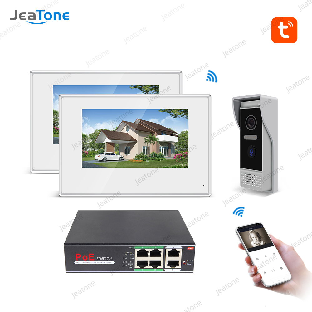 TuyaSmart Free APP Villa  IP Video Intercom POE System 720P Wifi Wired Video Door Phone 7'' Touch Screen Security Access Control