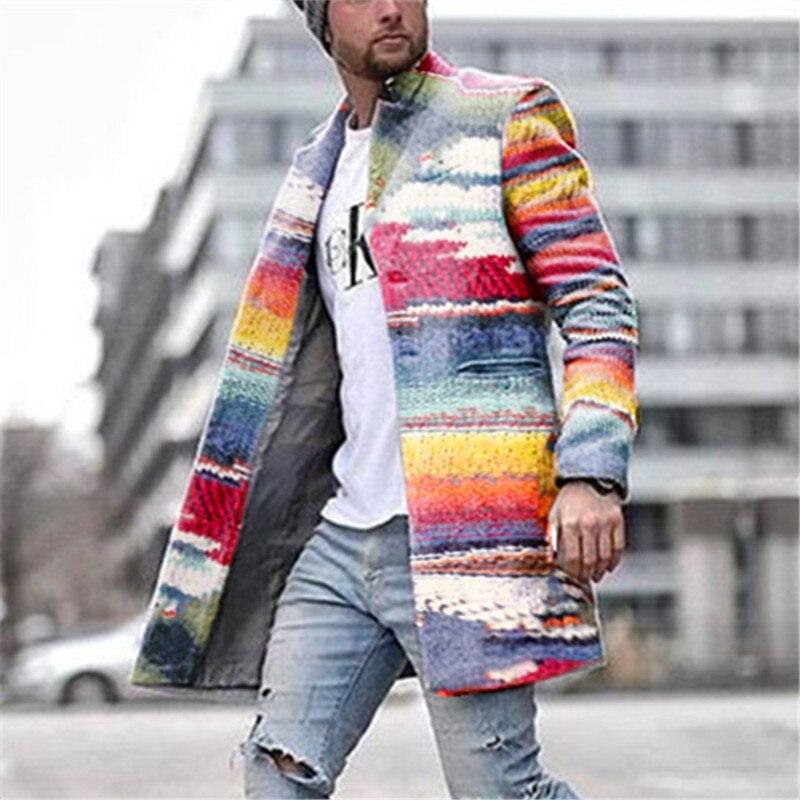Winter Wool Coat Men Leisure Seven-color Rainbow Stripes Slim Wool Fashion Mens Jackets Vintage Jacket Men Coat Casual