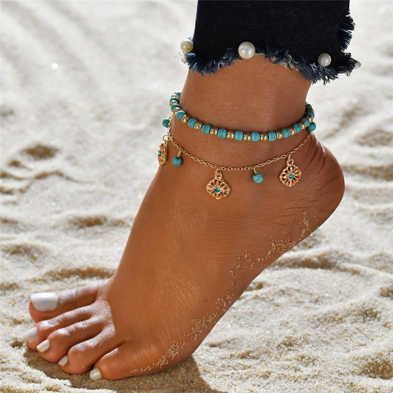 WUKALO Bohemian Multiple Layers Flower Pendant Anklet Bracelet For Women Charms Vintage Ethnic Gold Color Chain Beach Jewelry