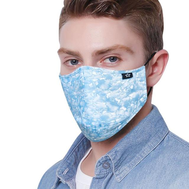 men women fashion blue Cotton fabric PM2.5 protective face dust mask with 4pcs Carbon filter anti proof Flu mouth masks washable