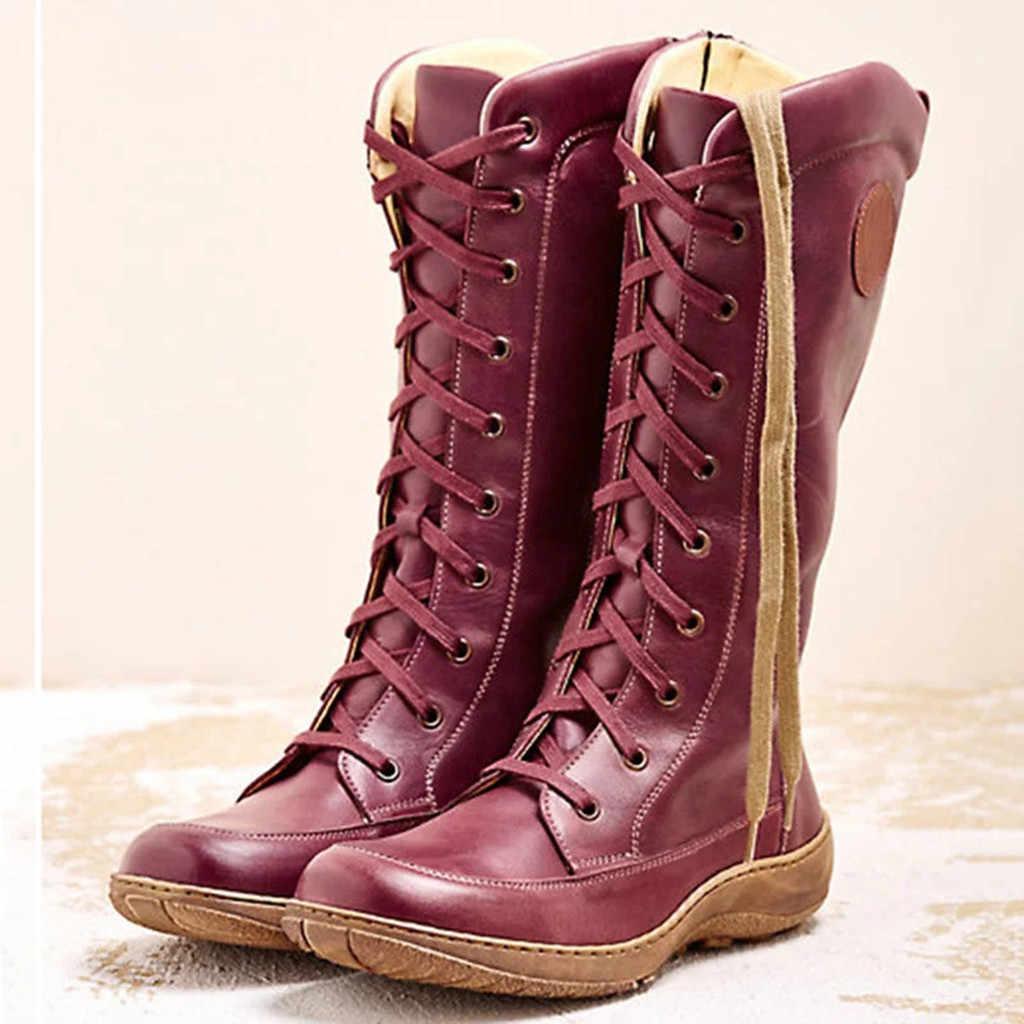 2020 Thu Đông Nữ Mẫu Mới Thời Trang Giày Mũi Tròn Roma Retro Dây Kéo Dài Giày Buộc Dây Giày Boots Mùa Đông giày Bốt Nữ # O13