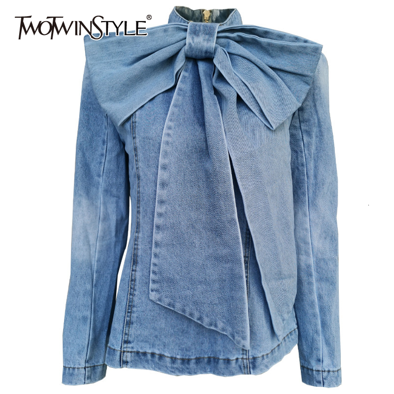 TWOTWINSTYLE Patchwork Bow Denim Women's Jacket Stand Collar Long Sleeve Vintage Ruched Jackets For Female Fashion Clothing