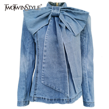 TWOTWINSTYLE Patchwork Bow Denim Womens Jacket Stand Collar Long Sleeve Vintage Ruched Jackets For Female 2020 Fashion Clothing