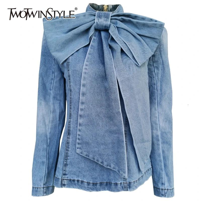 Женская джинсовая куртка TWOTWINSTYLE, винтажная куртка с воротником-стойкой, длинным рукавом и рюшами, 2020