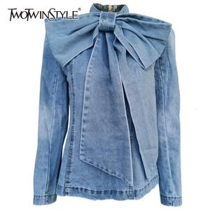 Image 1 - Twotwinstyleパッチワーク弓デニム女性のジャケットスタンド襟長袖ヴィンテージシャーリングジャケット女性のための2020ファッション服