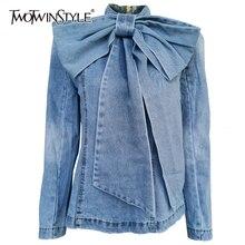 Twotwinstyle retalhos arco denim jaqueta feminina gola longa manga vintage ruched jaquetas para o sexo feminino 2020 roupas de moda