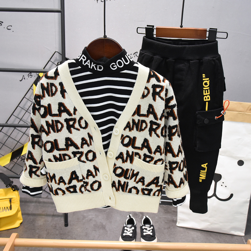 3PCS WLG boys casual clothing set kids letter cardigan striped t shirt and black pant set baby boy all match clothes 2-7 years