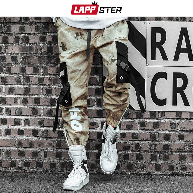 LAPPSTER Men Streetwear Ribbons Cargo Pants 2020 Mens Camouflage Joggers Hip Hop Korean Fashions Designer Camo Sweatpants INS 1