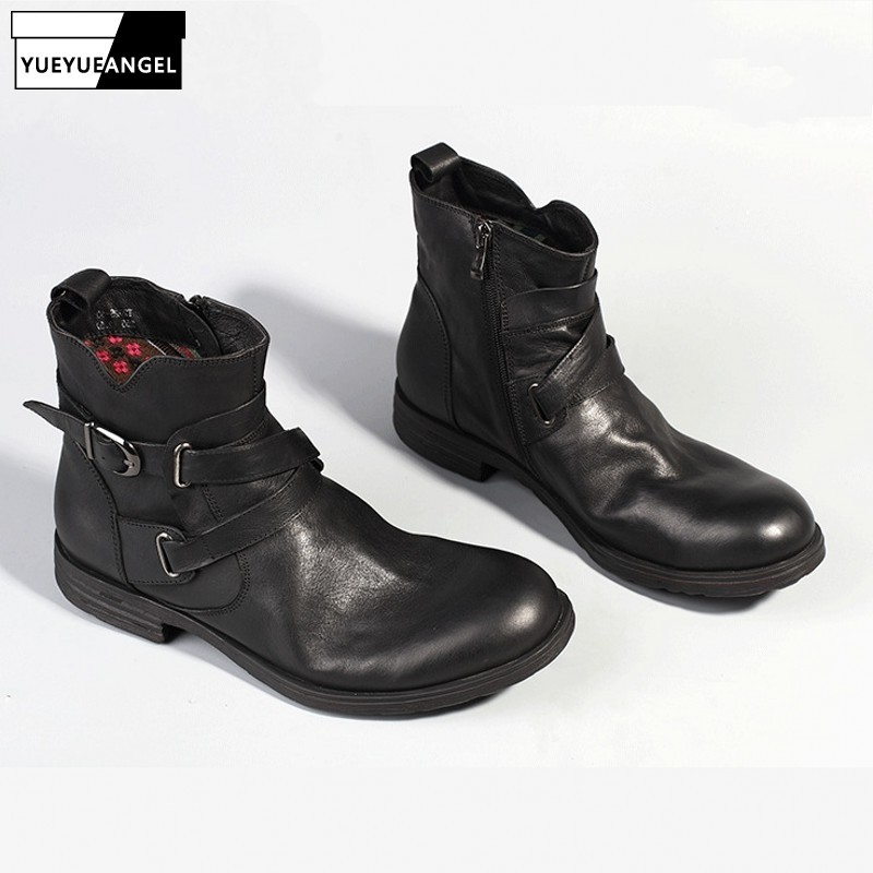 Brand Luxury Genuine Leather Boots Men Round Toe Buckle Strap Sewing Fashion Japan Style 2020 New Work Boots Shoes Mens