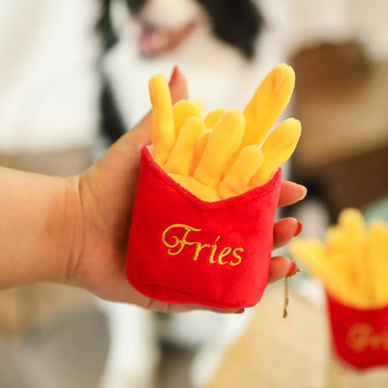 4/7PC SET Hamburger Plush Soft Stuffed Dog ToysSqueaky French fries Shape Chew Bite Resistant Toy for Dogs Pet Toys Accessories 3