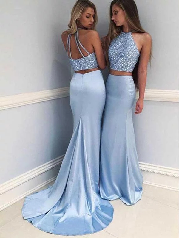 2020 Sexy Prom Dress Sheath Halter Sleeveless Sweep/Brush Train With Beading Satin Two Piece Dresses For Party