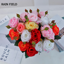 Artificial Flowers Rose Silk Wedding Home of Decoration Branches Free Combination Peonies Bouquet Fake Eternal