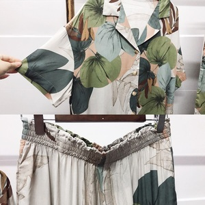 Image 5 - Pajamas Womens Short sleeved Cropped Trousers Pajamas Set with Leaves Printing Lapel Casual Large Size Loose Style Home Clothes