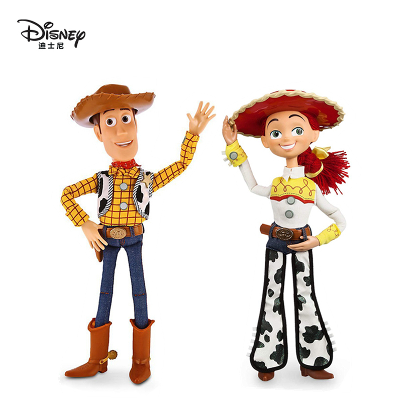 Disney Pixar Toy Story 3 4 Talking Woody Jessie Action Figures Cloth Body Model Doll Limited Collection Toys Children Gifts 40C