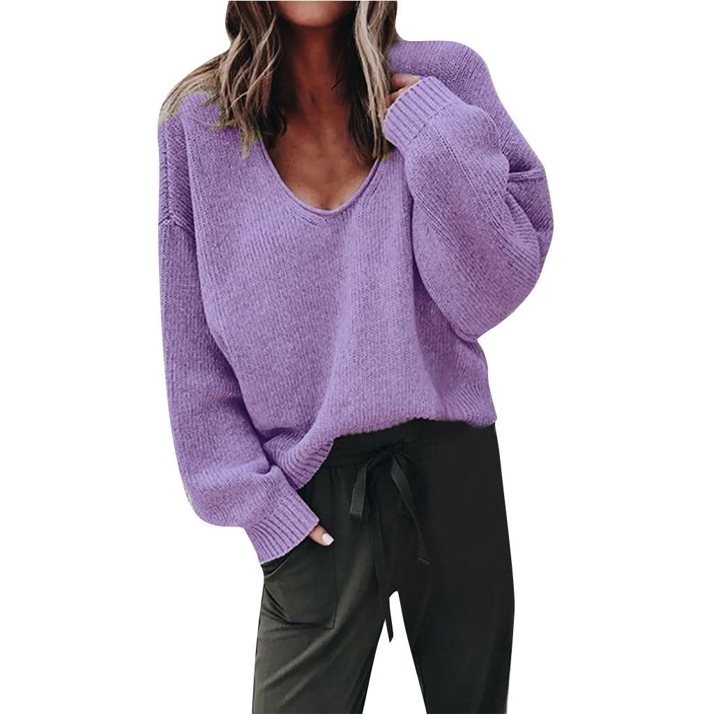 Jaycosin Women Fashion Pure Color V Collar Long Sleeve Sweater Knitting Elegant Chic Stylish Sweater Top Blouse