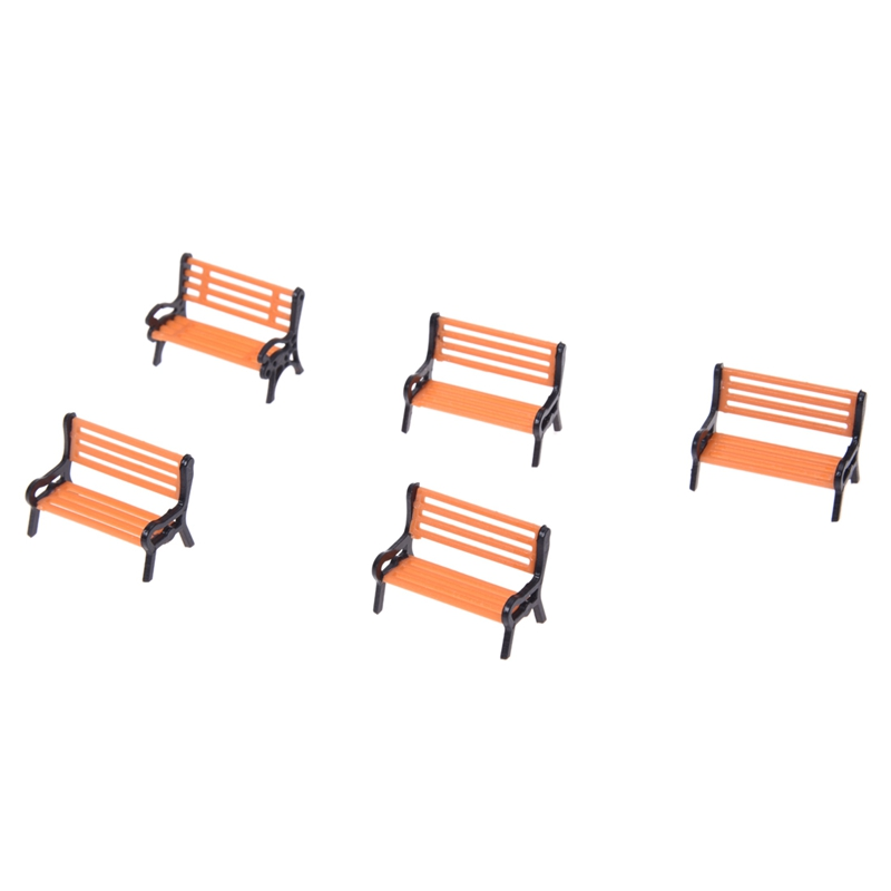 New 5pcs Plastic Model Park Bench Model Landscape 1:50 W/ Black Arm