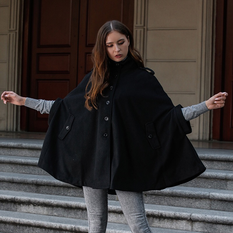 2019 Elegant New Autumn Winter High Collar Cape Windbreaker Women   Trench   Cloak Single-breasted Button Loose Casual Coat Black