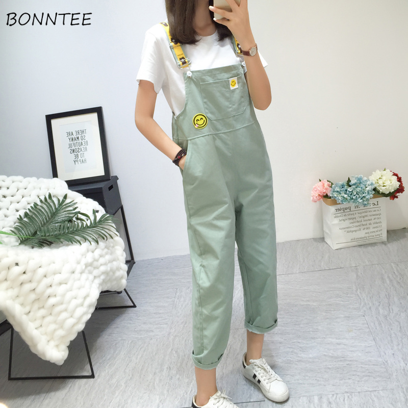<font><b>Jumpsuits</b></font> Women High Waist Candy Color Big Pockets Loose <font><b>Kawaii</b></font> Womens <font><b>Jumpsuit</b></font> All-match Korean Style Student Smile Simple Chic image