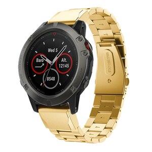 Image 5 - Correa de reloj para Garmin Fenix, pulsera de acero inoxidable de liberación rápida, 22 y 20MM, 6X, 6S, 6 Pro, 5X, 5, 5S Plus, 3HR