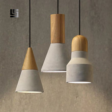 Nordic lamps and lanterns bedroom head restaurant bar creative designer cement wooden single head small chandelier(China)