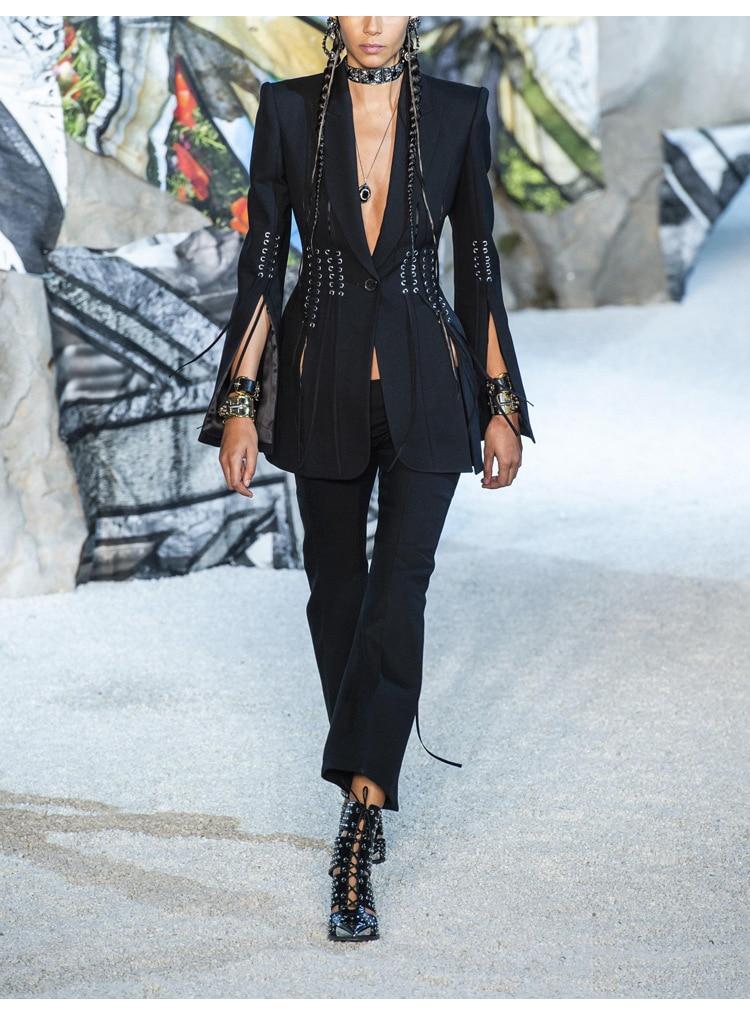 SHTONGHUAWomen's Suit Solid V Neck Long Sleeves cross bandage Blazer Tops High Waist Wide-legged pants Two Piece Set Female 2019 20