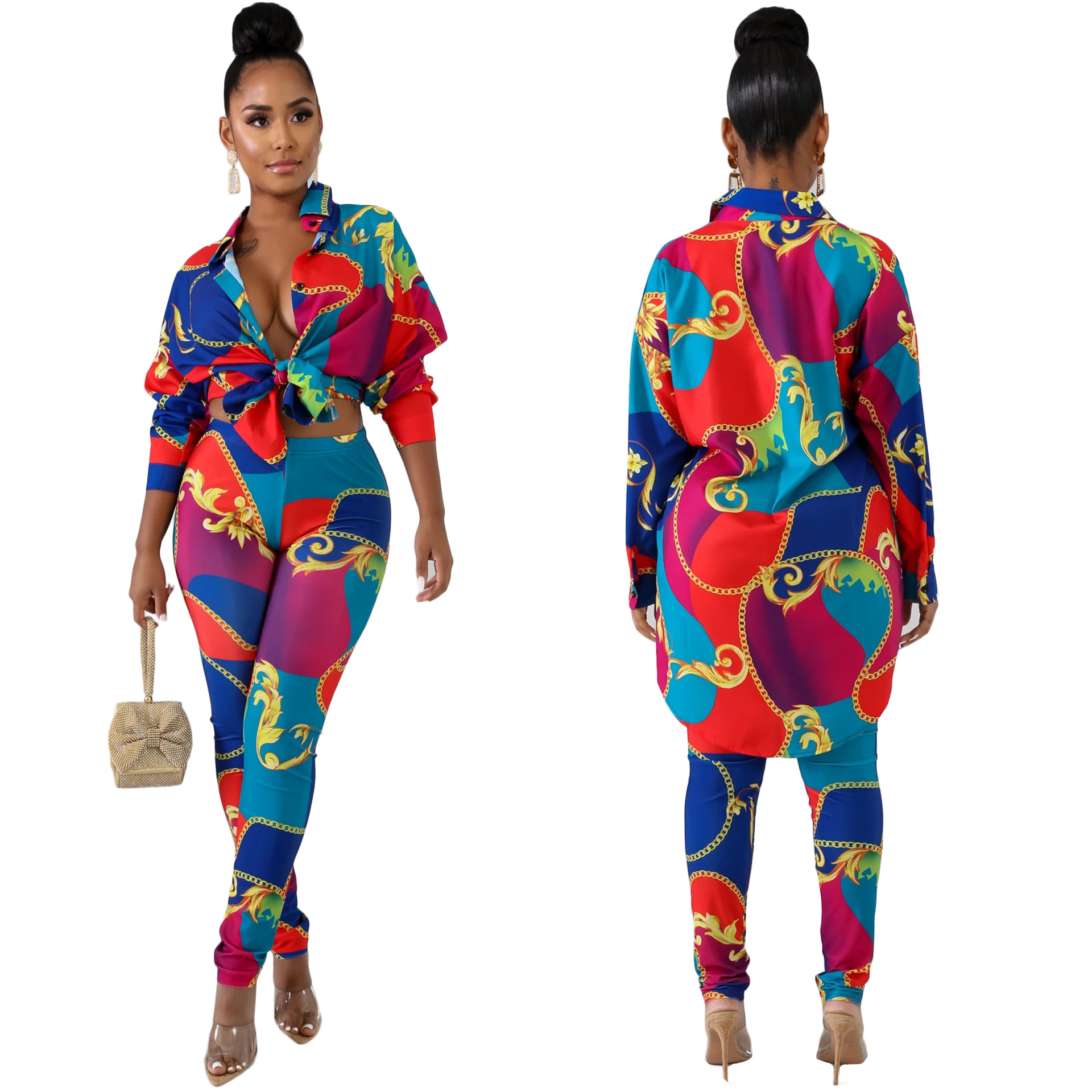 Dashiki African Clothes Winter Women's Set Tracksuit Full Sleeve National Print Shirt Pencil Top And Pants Suit Streetwear Two P