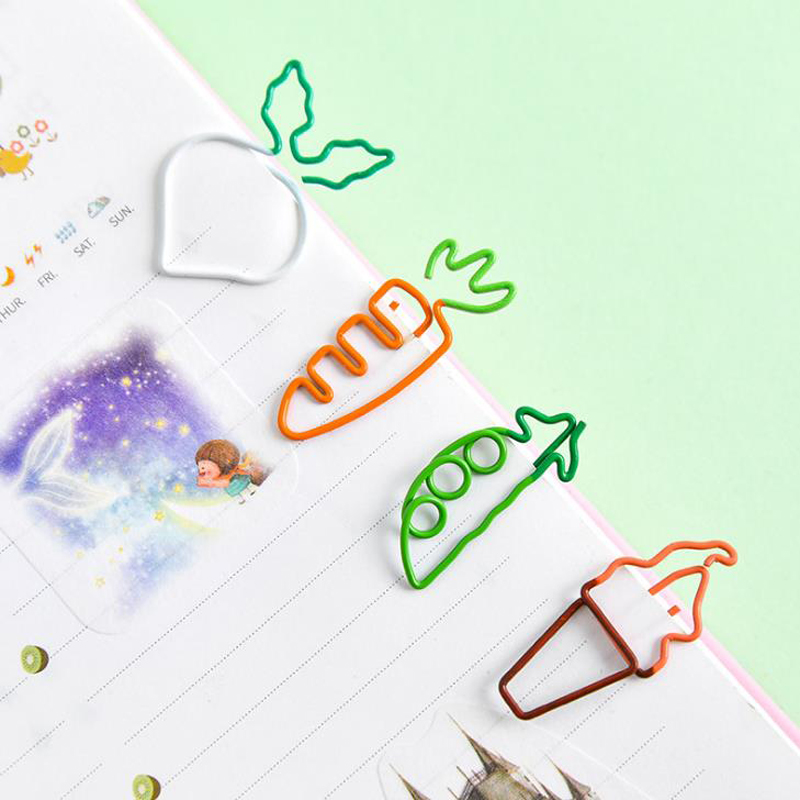 5 Pcs/set Kawaii Mini Carrot Ice Cream Shape Paper Clips Photo Ticket Memo Notes Letter Binder Clips Bookmark Stationery Gifts