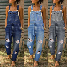 Denim Overalls Trousers High-Waist jeans Holes Women's with And Thinner