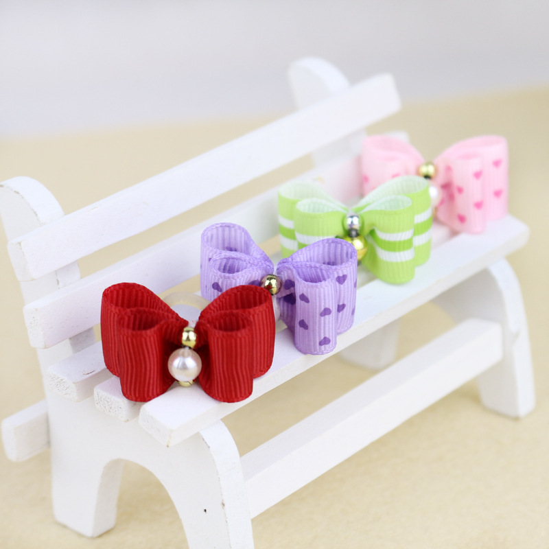 Pet Products 5pcs Cute Headwear Dog Bows Scalp Double Bow Ornament Pet Supplies Lovely Dogs Tie