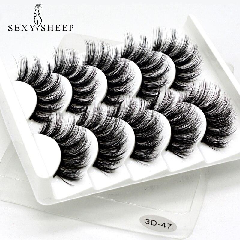 5Pairs 3D Mink Hair False Eyelashes Natural/Thick Long Eye Lashes Wispy Makeup Beauty Extension Tools Sexy Sheep