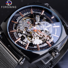 Forsining Black Square Mens Mechanical Watch Automatic Skeleton Transparent Slim Mesh Stainless Steel Strap Clock Erkek Kol Saat winner men fashion skeleton mechanical watch stainess steel clock transparent steampunk montre homme wristwatches erkek kol saat