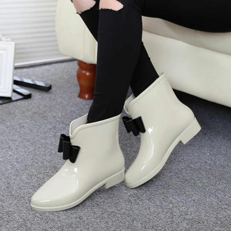 Dropshipping Scarpe Da Donna Fiore Bowtie Autunno Caviglia di Boot di Avvio Inverno Stivali Da Pioggia Donna Solido Impermeabile Scarpe di Gomma Delle Signore Calzature
