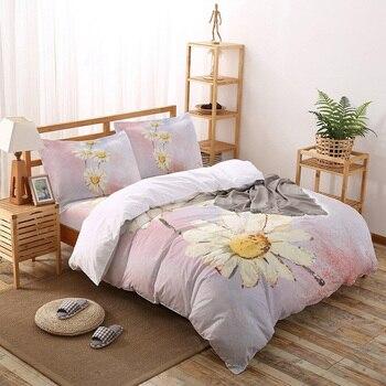 Juego de ropa de cama de margaritas con diseño de flores, juego de ropa de cama personalizado de lujo