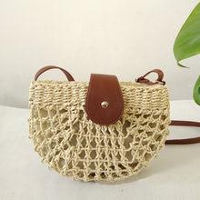 Женские соломенные сумки ручной работы ажурная полукруглая Сумочка