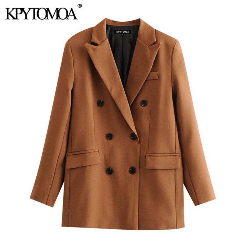 KPYTOMOA Women 2020 Chic Fashion Double Breasted Basic Blazer Coat Vintage Long Sleeve Pockets Female Outerwear Chic Tops